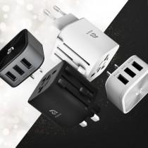 OMNIA T3 旅行萬用充電轉接頭 附USB轉接頭 黑/白(固